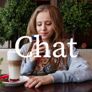 Woman having fun chat on spur dating app