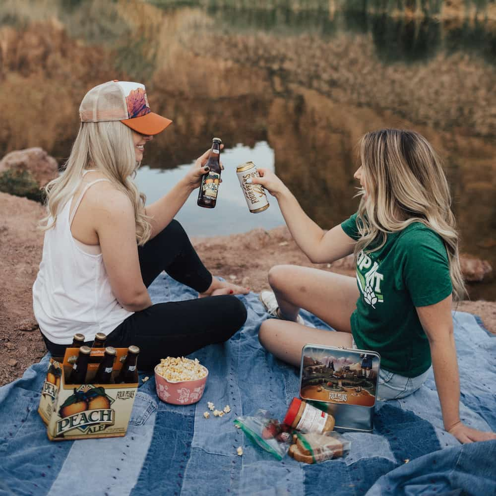 cute couple on picnic date during covid